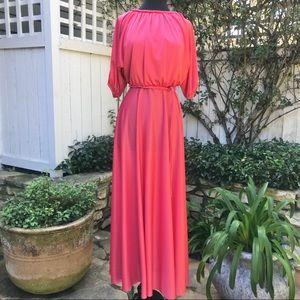 Vintage Bright Coral Cold Shoulder Maxi Dress